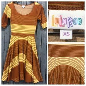 LuLaRoe Striped Tan & Yellow Midi Dress
